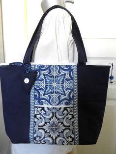 """SAC tissu zippé """"CARREAUX DE CIMENT"""" , bleu, rétro, azulejos"""