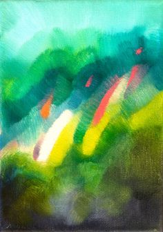 """Original Abstract Oil painting, 5""""x7"""" stretched canvas 5/8"""" deep, abstract modern art green blue pink purple orange turquoise. $100.00, via Etsy.    ...BTW,Please Check this out:  http://artcaffeine.imobileappsys.com"""