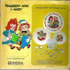 1969 Raggedy Ann and Andy  Child's Dinner set from Oneida