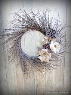 Image detail for -Burlap and Feather Twig Wreath by TheBackyardGardener on Etsy