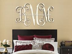 "Wooden Monogram Wall Hanging 24"" wooden monogram - unfinished vine script monogram - wood"