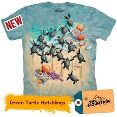 Tricouri The Mountain – Tricou Green Turtle Hatchlings Green Turtle, Reptiles, Mountain, 3d, Mens Tops, T Shirt, Tee, Tee Shirt