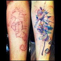 Before & After Watercolor Seahorse Tattoo