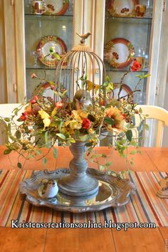 Kristen's Creations: Share Your Creations Party # 40! Bird Cage Centerpiece, Table Centerpieces, Table Decorations, Centerpiece Ideas, Seasonal Decor, Fall Decor, Holiday Decor, Carillons Diy, Deco Floral