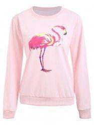 8dd67aa1a63d46 Flamingo Print Crew Neck Graphic Sweatshirt - PINK XL Crew Neck Sweatshirt,  Graphic Sweatshirt,