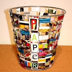 Trashcan - How to found here http://replayground.blogspot.com/2010/12/remake-it-paper-waste-basket.html |  New Uses For Old Newspapers And Magazines