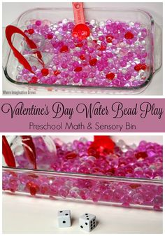 Valentine's Day Sensory Play for Kids! Easy Water Bead Math Game!