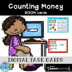 Aug 4, 2020 - These 25 digital task cards on BOOM Learning are a great way for your little one to practice counting money to $2.00. There are 25 self grading cards. 11 are student entered answers and 14 are multiple choice! Please look at the preview file to view a few cards on BOOM Learning. More about BOOM ... Learning Cards, Fun Learning, Math Stations, Math Centers, Fluency Practice, Counting Money, Sight Words List, Reading Comprehension Activities, Math Task Cards