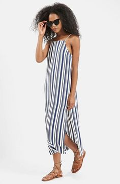 Free shipping and returns on Topshop 'Deck Chair' Stripe Midi Dress at Nordstrom.com. A strappy neckline and thigh-high side slits define a flowy midi dress patterned in crisp blue stripes.