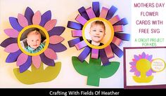 Fields Of Heather: Mothers Day Flower Cards - A Kids Craft With Cricut Yellow Paper, Green Paper, Projects For Kids, Project Ideas, Crafts For Kids, 4th Grade Classroom, Cricut Tutorials, Flower Cards, Fields