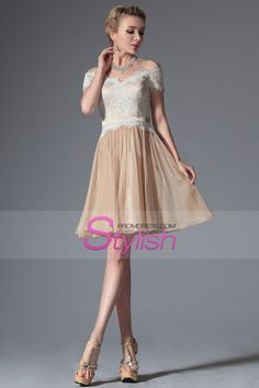 2015 Off The Shoulder Prom Dresses A Line Above Knee Length Lace And Chiffon $254.99 Cocktail Dresses