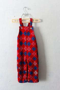 Vintage 1970s Plaid Kids Overalls by PeppermintandCocoa on Etsy, $11.00