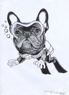 Sketchbook page by Jeroen Teunen , The Dog Painter. Diving Frenchie , underwater French Bulldog