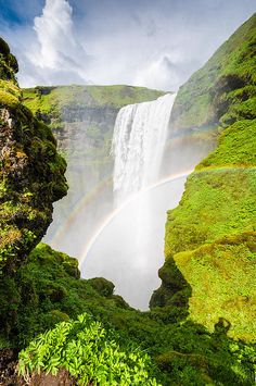 Iceland Skogafoss - when one rainbow is not enough...Amazing waterfall Skogafoss in South Iceland on a sunny summer day with two colorful rainbows, fresh green colors in a beautiful landscape. Click on the link or the image to buy a poster, fine art print or canvas print: http://matthias-hauser.artistwebsites.com/featured/waterfall-skogafoss-iceland-europe-matthias-hauser.html 30 days money back guarantee. (c) Matthias Hauser hauserfoto.com