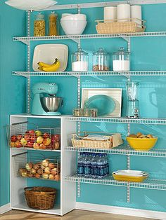 If there were a way to add more storage space...i like the layout with the shelves and pull out cabinets