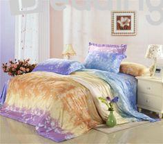 Fashion High Quality Beautiful Print Silk 4 Piece Bedding sets #silkbedding #beddingsets #purplebedding Live a better life start with @bedding inn