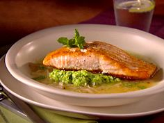 salmon in lemon brodetto w/ pea puree. giada's recipe. so easy. so tasty.