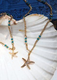 Gold Starfish & Turquoise beads Necklace by VespertineCosmos £20 #bohochic #beachparty #beachinspired #starfish #marinelife #daintyjewelry