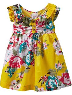 Toddler Girl: Ruffled Flutter-Sleeve Dress in Yellow Floral