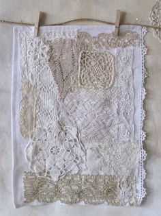 Patchwork using scraps lace / doilies.would be pretty in a frame. Doily Art, Lace Doilies, Vintage Fabrics, Vintage Sewing, Vintage Lace Crafts, Vintage Embroidery, Hand Embroidery, Crazy Patchwork, Crazy Quilting