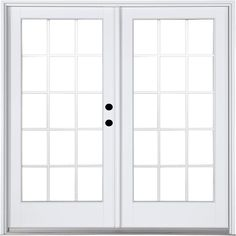 MasterPiece 59-1/4 in. x 79-1/2 in. Fiberglass White Left-Hand Inswing Hinged Patio Door with 15 Lite External Grilles, Smooth White Interior And Exterior