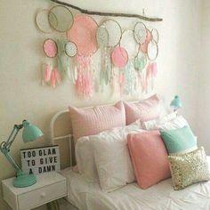 Dreamcatcher decor colours more dream catcher bedding, My New Room, My Room, Los Dreamcatchers, Unicorn Rooms, Unicorn Room Decor, Unicorn Bedroom, Home And Deco, Little Girl Rooms, Dream Bedroom