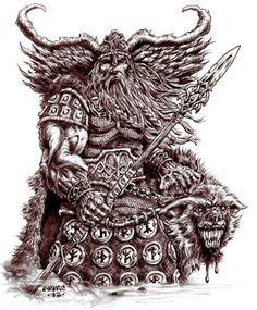 ODIN and FREKI by vikingmyke on deviantart