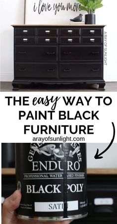 The best and easiest black paint for furniture! How to get a super smooth black paint finish on your old thrifted bedroom furniture with General Finishes Enduro Black Poly. It's so easy (easier than chalk style paint) to DIY this black farmhouse style car Black Painted Furniture, Painted Bedroom Furniture, Chalk Paint Furniture, Farmhouse Furniture, Rustic Furniture, Antique Furniture, Diy Furniture Easy, Do It Yourself Furniture, Furniture Makeover