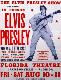 From Crowne Plaza: Elvis stayed at our hotel during his visits to Jacksonville! Poster advertising Elvis Presley shows at the Florida Theater in Jacksonville, FL, August 10 Pin Ups Vintage, Rock Vintage, Vintage Music, Vintage Art, Musica Elvis Presley, Elvis Presley Posters, Rock Posters, Band Posters, Vintage Concert Posters