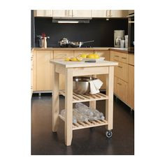 BEKVÄM Kitchen cart IKEA Solid wood can be sanded and surface treated as needed. Gives you extra storage, utility and work space.