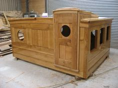 Oak Ship's Wheel house and sliding hatch. Cruiser Boat, Boat Storage, Boat Projects, Boat Interior, House Deck, Wood Boats, Floating House, Tug Boats, Boat Design