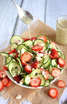 Cucumber & Strawberry Salad with Poppyseed Dressing
