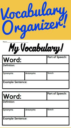 *Free* Are you looking for a great way to support vocabulary and comprehension? Look no further! Here is a great tool to help students take notes and acquire vocabulary. This organizer is great for multiple uses such as weekly vocabulary, in support of text specific vocabulary, as well as any other use you can come up with. Featuring Support For: - Listing Vocabulary Words - Definitions - Synonyms - Antonyms - A Sketch - An Example Sentence