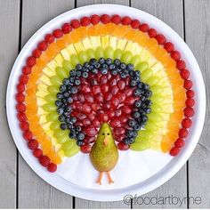 Rainbow Turkey by Jenna Getting Creative with Fruits and Vegetables: Cute Creations Salad and Fruit Choppers. This is such a cute fruit platter in the shape of an owl. Various chopped fruits make u the body of the owl. What a fun Thanksgiving Fruit Tray! Party Platters, Food Platters, Thanksgiving Fruit, Thanksgiving Appetizers, Christmas Appetizers, Food Art For Kids, Birthday Food Ideas For Kids, Easy Food Art, Amazing Food Art