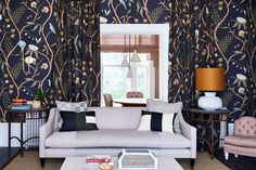 Floral wallpaper ideas / Matching wallpaper and curtain fabric / UK House and Gardens / Lewis & Wood Adam's Eden wallpaper / British decorating / Eclectic living room
