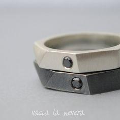 Geometric wedding rings black diamond Diamond Engagement