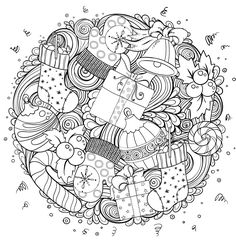 Merry christmas set of xmas monochrome pattern and text templates. Ideal for holiday greeting cards, print, coloring book page or wrapping paper. Colouring Pics, Coloring Pages To Print, Coloring Book Pages, Printable Coloring Pages, Coloring Sheets, Noel Christmas, Christmas Colors, Celebration Background, Holiday Icon