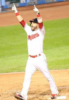 The Indians' Jason Kipnis celebrates his solo home run in ALDS Game 1 on Oct. 6, 2016 at Progressive Field.  Indians won game 1 of ALDS against the Red Sox  5-4(John Kuntz, cleveland.com)