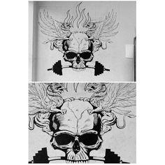 Blade Darkness. Feito com tinta acrílica sintética na parede. Dimensões: 2,00x1,60 metros.