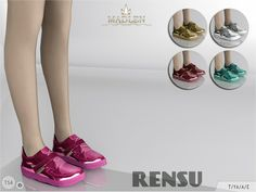 New sneakers for your sim! Come in 5 shiny colours (mirror patent texture). Joints are perfectly assigned. All LODs are replaced with new ones.  Found in TSR Category 'Sims 4 Shoes Female'