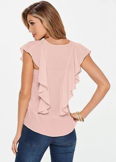 Flutter Short Sleeve Blouse from VENUS women's swimwear and sexy clothing. Order Flutter Short Sleeve Blouse for women from the online catalog or New Outfits, Dress Outfits, Summer Outfits, Blouse Styles, Blouse Designs, Sewing Blouses, Make Your Own Clothes, Look Fashion, Street Fashion