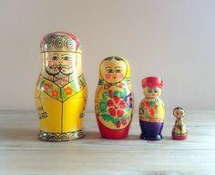 Vintage family Russian Matryoshka / Babushka / Nesting dolls 4 piece set made in USSR on Etsy, $38.00