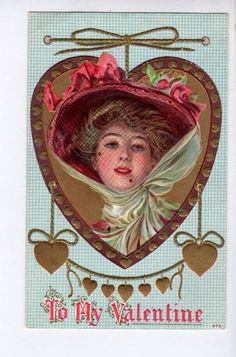 AS098 Postcard Artist F Earl Christy Glamour Woman Valentine in Gold trimmed hea