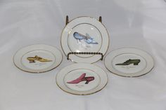 Set of 4 Email der Limoges 1855 Shoe Desert Plates by TheVeryOldStuffShop on Etsy