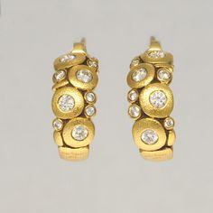 "Alex Sepkus earrings, 18k Yellow Gold, ""Candy"" 20 Diamonds F-G; VVS 0.54cts  #AlexSepkus"