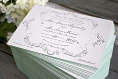 Created by Erin from Lucky Luxe Couture Correspondence, Zayra and Ivan's invitations feature beautiful vintage-inspired design elements with soft celadon edge painting
