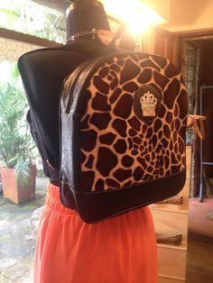 Animal print backpack negro