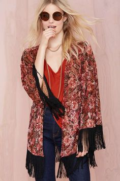 This is wearable art. Beautiful.You'll want to throw this burnout kimono over just about everything.