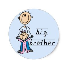 Shop Big Brother with Baby Sister Tshirts and Gifts Classic Round Sticker created by stick_figures. Funny Brother Birthday Cards, Rakhi Cards, Sisters Drawing, Stick Figure Drawing, Handmade Rakhi, Rakhi Design, Kids Canvas Art, Baby Sister, Stick Figures