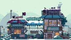 Cacao and coffee shop by faxdoc - Pixel Art 8 Bits, Pokemon, Vaporwave, How To Pixel Art, Pixel Life, Pixel Art Background, Foto Gif, 8bit Art, Animated Gifs